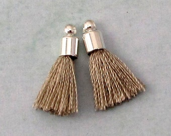 Tiny Silky Tassel Charm, Gray, Silver Cap, 17 MM, 2 Pieces, AS385