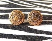 Gold Button Earrings, Victorian Studs, Vintage Style Posts
