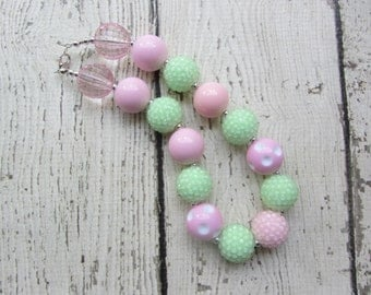 Bubblegum Necklace in Mint Green and Pink Chunky Beads 1st Birthday Photo Prop SALE