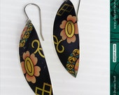 Vintage Blossoms on Black -- Narrow Leaf Upcycled Tin Earrings