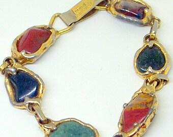 Vintage Brutalist Bracelet - Luciano - Signed - Rare Link Bracelet - Marked 24k Gold -