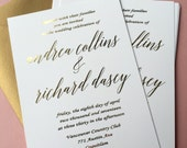 Elegant invitation, GOLD FOIL, simple, stunning modern gold wedding, wedding Invitation & rsvp