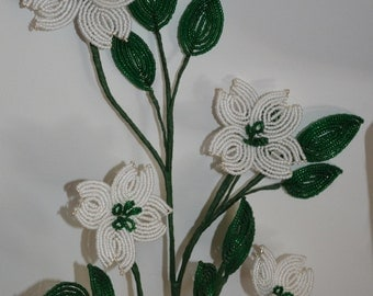 French beaded flowers dogwood branch flowers pink or white