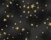 NEW Laurel Burch Fabric Enchantment Black w/ Stars 1 Yard Y1965-3M
