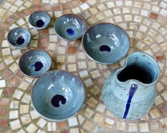 San San Kudo Sake Set in Slate Blue - Made to Order