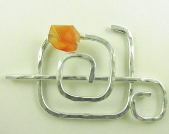 Silver Shawl Brooch/Clasp/Pin/ Abstract Square Spiral with Carnelian Nugget