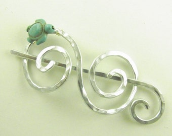 Shawl Brooch/Slice/Pin/Clasp Silver Double Spiral with Turquoise Turtle
