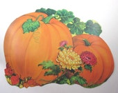 Vintage Large Cardboard Pumpkin Leaves Mums Harvest Thanksgiving Die Cut Decoration by Eureka