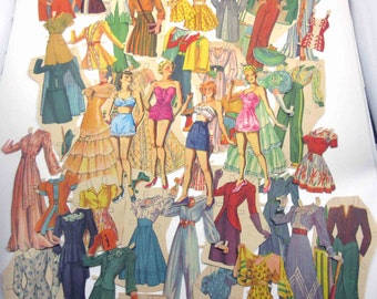 Vintage 1940s Hollywood Fashions Movie Star Paper Dolls with 40 Outfits and Accessories