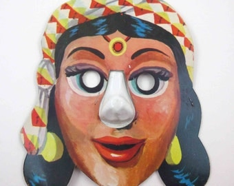 Vintage Children's Gypsy Woman Halloween Costume Mask