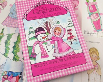 Vintage 1970s The Ginghams Paper Doll and Playset for Children Uncut in Original Box Becky's Winter Carnival by Whitman