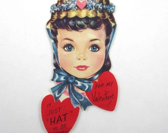 Vintage Children's Novelty Valentine Card with Large Face Big Head Girl in Pretty Hat