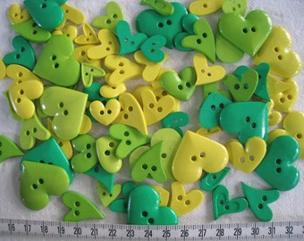30 pcs of  heart button - Yellow Green Lime Green
