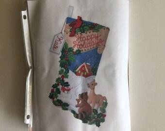 Bucilla Felt Christmas Stocking Kit - Woodland Holiday - Unopened