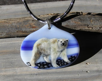 Polar bear necklace , fused glass jewelry - Fused glass pendant -