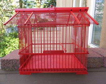 Rustic Red Bird Cage Red Decor Accent Red Cottage Chic Red Birdcage Display Item Natural Home Decor Hanging Cage Holder