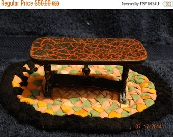Sale Vintage 1930's Die Cast Iron Tootsietoy Side Red & Black Marble Top Kitchen Table, Primitive Doll House Furniture