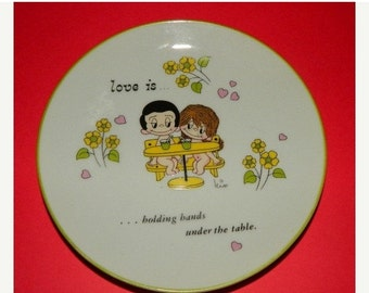 Valentines Day Sale 1972 Love Is by Kim,Valentine, Plate, Wall Decor, Lovers,  Love is holding hands under the table, Los Angles Times, Geor