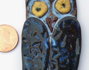Hand Made Stoneware Pendant Necklace Blue Owl Yellow Copper Wire OOAK Ceramic