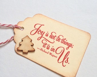 Handmade Christmas Gift Tags - Stamped - Wooden Tree