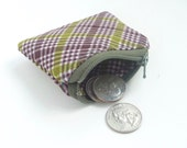 tiny change purse. green plaid flash drive case. jewelry pouch small. earbud case pouch. d ring loop pill safety pin case. party favor adult
