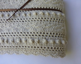 Lacy Natural Baby Blanket -  Hand Crocheted Baby Blanket