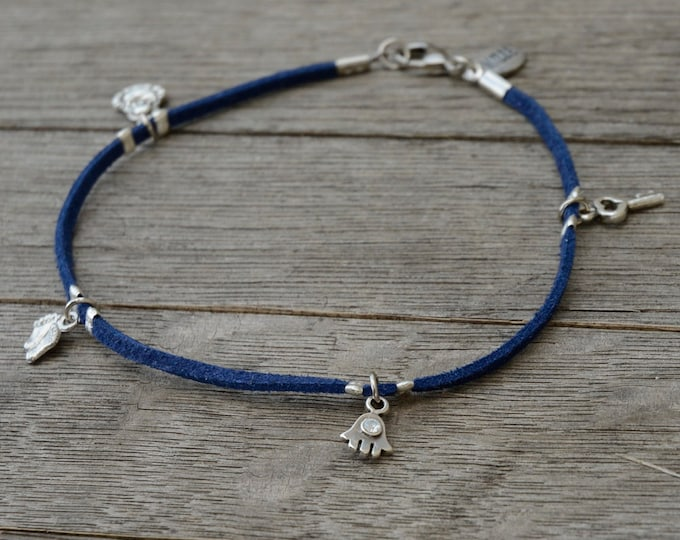 Blue Suede Silver Plated Charms Anklet