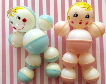 2 Vintage Baby Rattles Boy and Girl with Cute Faces
