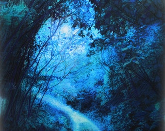 Forrest pathway, 16x20 inches, mixed media photo Original #full moon #blue Landscape #Gina Signore #night art #natureart #China blue #moon