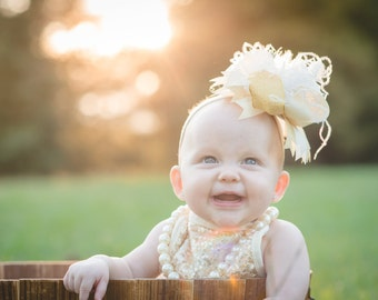 IVORY and GOLD over the top baby headband. baby accessory. baby girl bow.  big bow baby. made to match bow.  birthday party bow. sparkle bow