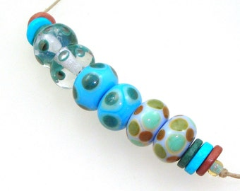 Handmade Lampwork Glass Beads - 3 pairs. Dotties in cirrus moonstone, turquoise, olive, caramel, teal & mint. Stacked dots, earring pairs.