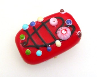 Handmade Lampwork Bead Focal bead with heart outline design and colorful dots on marachino cherry red - Eros!