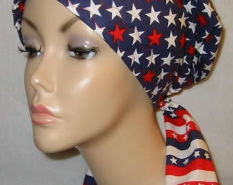 Red, White and Blue  Print  Chemo Hat, Cancer Scarf, Modest Hat