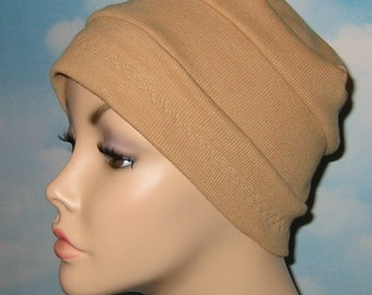 3-Band Tan Stretch Knit Cancer  Chemo Hat, Hijab, Alopecia Cap Yoga Hat