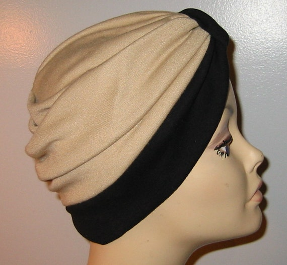 Stretch Knit 2-Tone Black and Tan Chemo Hat, Snood, Womens Hat, Cancer, Yoga, Alopecia