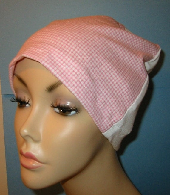 Pink Gingham Flannel Sleep Cap, Cancer Cap, Alopecia , Chemo Hat