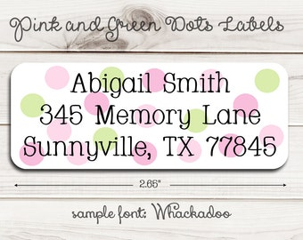 Pink and Green Dots Return Address Labels