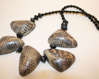 Polymer Taupe Hollow Bead Necklace