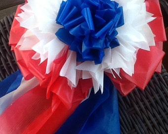 Giant RED, WHITE and BLUE Bow ~ outdoor ~  Patriotic ~ Memorial Day ~ 4th of July ~  Support Our Troops ~ 12""