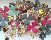 Vintage Enamel, Swarovski, Brass, Metal & Glass Flower Beads (70+)(Sparkle)