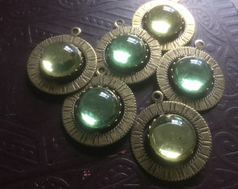 Vintage Glass Cabochons in a Vintage Brass Spinning Setting Pendant (only jonquil left)