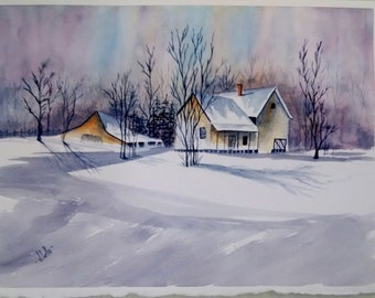 Winter Sceine Watercolor Painting