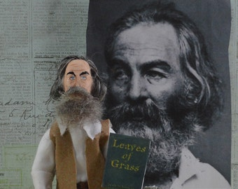 Walt Whitman Poetry Miniature Leaves of Grass Art Doll Collectible