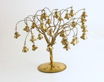 Vintage Christmas Decoration Gold Metal Tree Bells Christmas Village