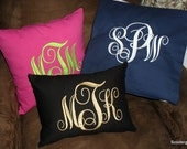 Monogrammed Pillow - Scrolling Vines-  Machine Embroidered- New