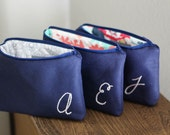Monogram Makeup Bags, Personalized Bridesmaid Gift Set, Monogrammed Cosmetic Clutch, Navy and Blush Pink or Custom Colors