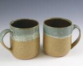 Two Handmade Coffee Mugs 16 oz. Pottery Farmhouse Mugs Sixteen Ounces, Coffee Cup Gift, Tea Mug, Beer Mug, Kitchen and Dining, Drinkware