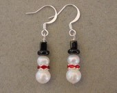 Freshwater Pearl SNOWMAN EARRINGS Christmas Jewelry Earrings - Choice Silver or Gold