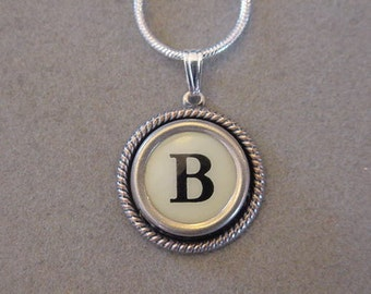 Typewriter Key Jewelry Necklace CREAM  LETTER  B- Typewriter Key Necklace - Initial B serif font Initial Necklace