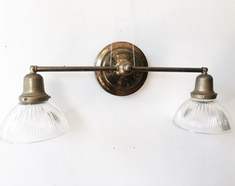 Vintage Brass Fixture - lamp, machine age, fluted glass